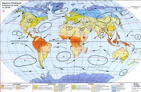 Carte des Région climatique : Pression et vent dans le monde - www.alertes-meteo.com