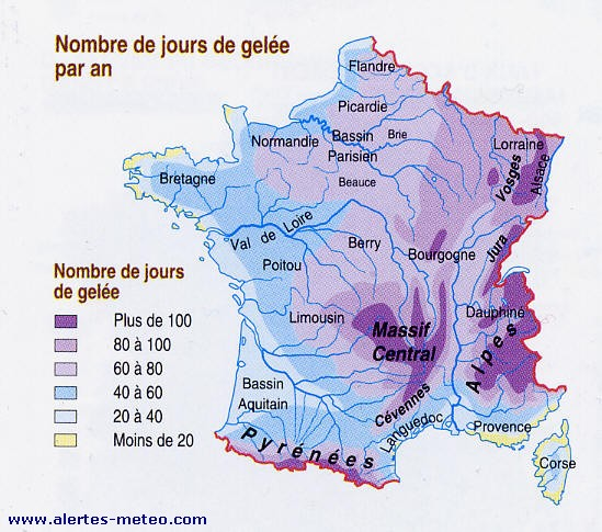 carte du nombre de jours de gel e par an en france. Black Bedroom Furniture Sets. Home Design Ideas