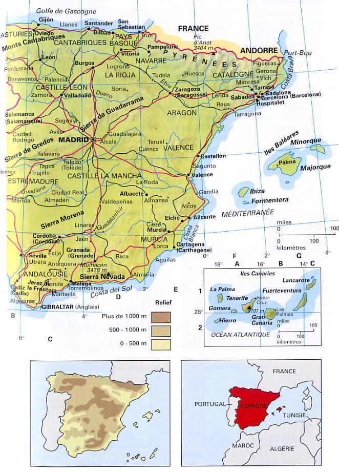 carte espagne barcelone valence