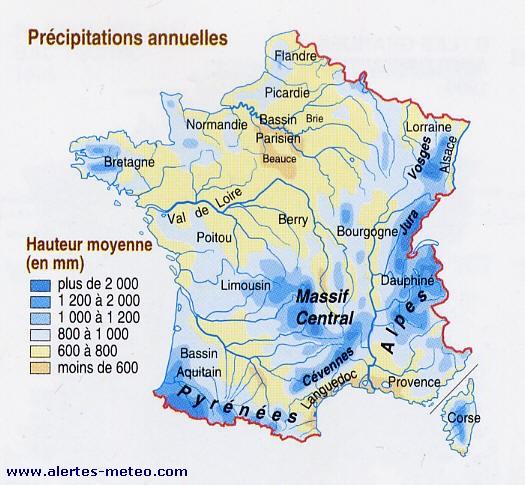 Carte Precipitation Alsace.Carte Des Precipitations Par An En France Www Alertes