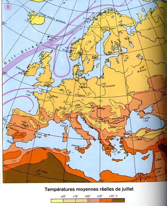 Meteo Europe Carte Temperature.Carte Des Temperatures Moyennes Juillet En Europe De L Ouest