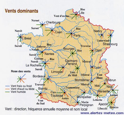 Carte des vents dominants en France par an   .alertes meteo.com